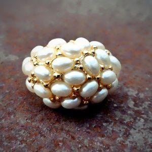 VTG Kenneth Lane 22kt Adjustable Domed Pearl Ring